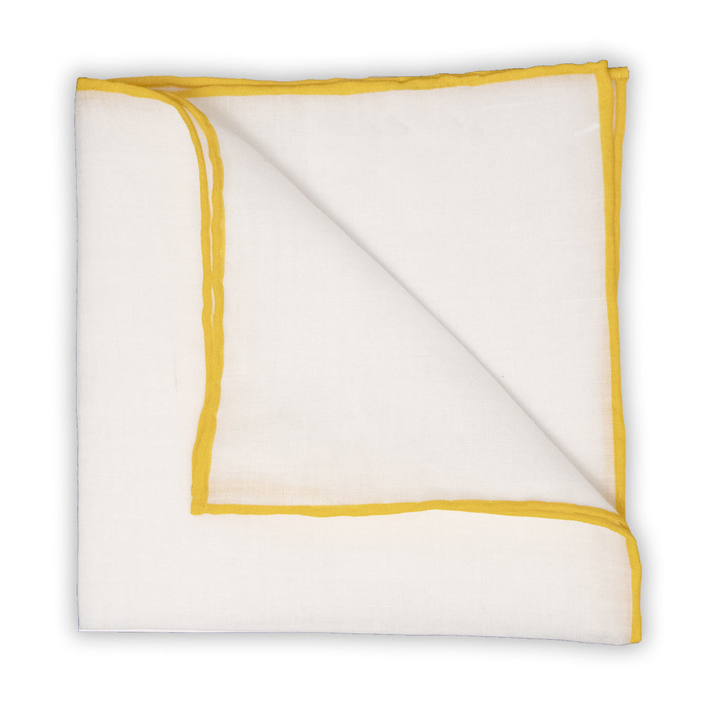 White Linen Pocket Square with Yellow Trim