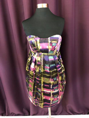 ABS Size 2 Brown Multicolor Pink Formal Dress