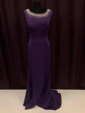 Abby Paris Size 12 Purple Rhinestone Bead Formal Dress