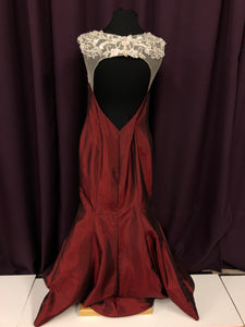 Adas Bridal Size 18 Red Flower Gemstone Formal Dress