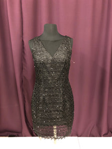 Adrianna Papell Size 4 Black Sequin Lace Short Formal Dress