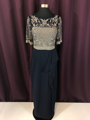 Adrianna Papell Size 4 Blue Bead Sequin Sleeve Illusion Formal Dress