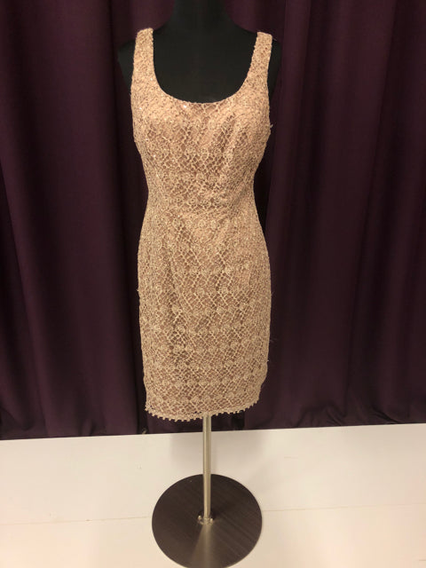 Adrianna Papell Size 4 Champagne Sequin Lace Short Formal Dress