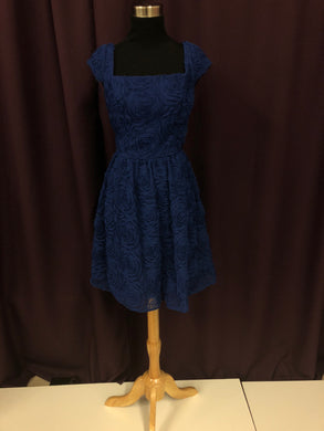 Adrianna Papell Size 6 Blue Flower Formal Dress
