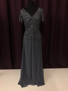 Adrianna Papell Size 8 Gray Bead Formal Dress