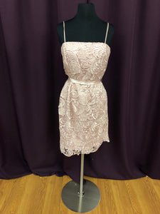 Adrianna Papell Size 8 Pink Lace Sash Short Formal Dress