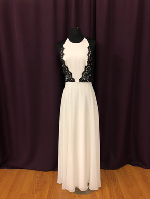 After Six Size 6 White Halter Lace Formal Dress