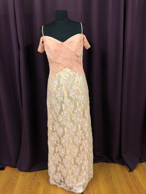 Alanis Size 12 Pink Lace Bead Sequin Rushing Formal Dress
