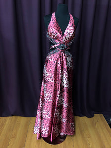 Alanis Size 8 Pink Print Rhinestone Sequin Bead Formal Dress