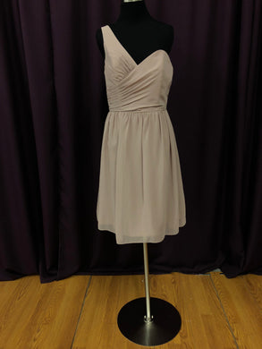 Alfred Angelo Size 10 Brown One Shoulder Short Rushing Formal Dress