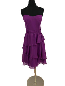 Alfred Angelo Size 10 Purple Ruffle Strapless Short Formal Dress
