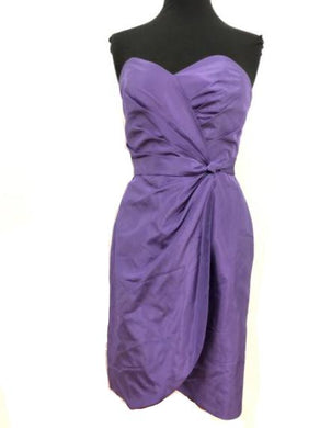 Alfred Angelo Size 10 Purple Rushing  Strapless Bead Formal Dress