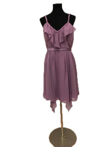 Alfred Angelo Size 10 Purple Strap Ruffle Formal Dress