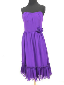 Alfred Angelo Size 10 Purple Strapless Flower Bead Formal Dress