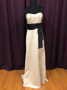 Alfred Angelo Size 10 Tan Long Strapless Belt Formal Dress