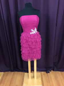 Alfred Angelo Size 12 Pink Lace Ruffle Formal Dress