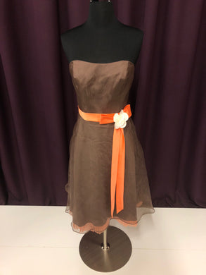 Alfred Angelo Size 4 Brown Belt  Strapless Formal Dress