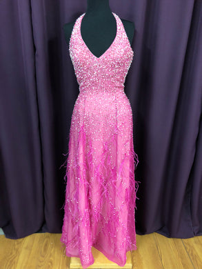 Alfred Angelo Size 6 Pink Long Sequin Bead Halter Formal Dress