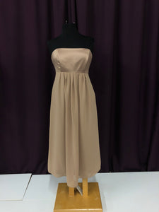 Alfred Sung Size 10 Brown Tea Length Strapless Rushing Formal Dress