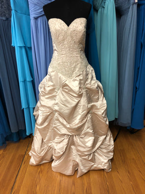 Allure Bridal Size 16 Champagne Pick-ups Bead Sequin Wedding Dress
