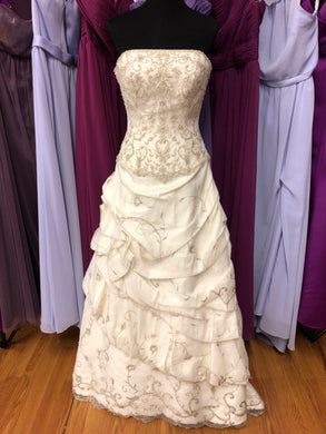 Allure Size 10 Ivory Bead Embroidery Pick-ups Wedding Dress