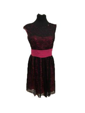 Allure Size 12 Pink Lace Formal Dress