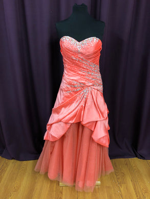 Alyce Size 10 Pink Rhinestone Sequin Tulle Formal Dress