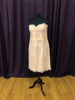 Alyce Size 12 Blush Pink Lace Sequin Belt Strapless Formal Dress