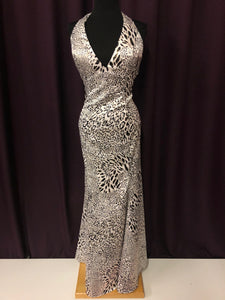 Alyce Size 14 White Print Halter Formal Dress