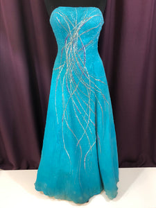 Alyce Size 2 Blue Bead Formal Dress