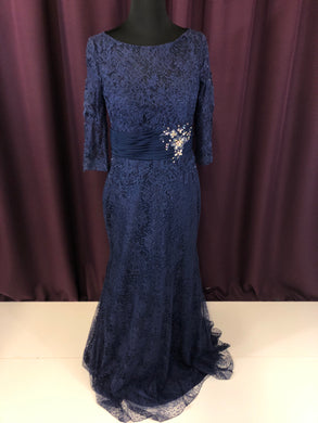Alyce Size 4 Blue Lace Rhinestone Rushing Formal Dress