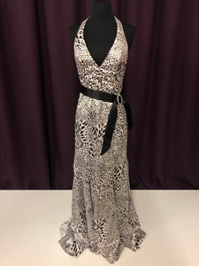 Alyce Size 4 White Belt  Broach Leopard Print Formal Dress