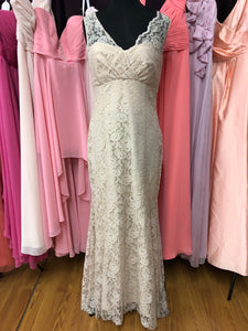Amsale Size 12 Pink Lace Wedding Dress