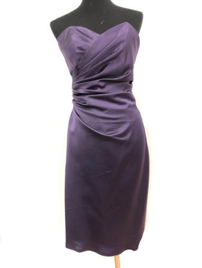 Angelina Faccenda Size 12 Purple Rushing  Strapless Ribbon Formal Dress