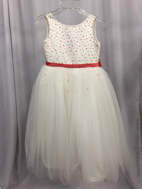 Armoniia Size 6 Ivory Bead Belt Bow Tulle Flower Girl Dress