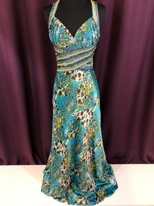 Aspeed Size 2 Blue Sequin Cheetah Print Formal Dress
