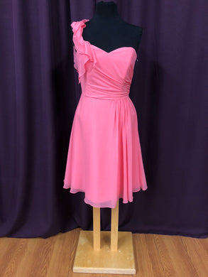 B2 Size 10 Coral One Shoulder Rushing Formal Dress