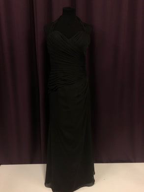 Bari Jay Size 12 Black Long Rushing Halter Formal Dress