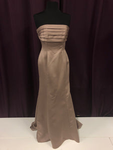 Bari Jay Size 12 Brown Ruffle Strapless Bow Formal Dress