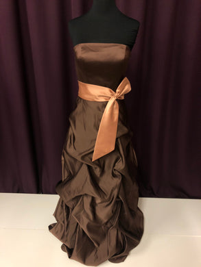 Bella Size 4 Brown Bow Formal Dress