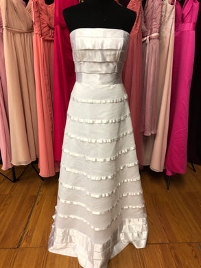 Bellissima Size 14 White Stripe Wedding Dress