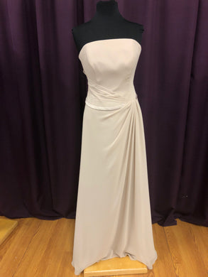 Belsoie Size 12 Tan Long Strapless Formal Dress