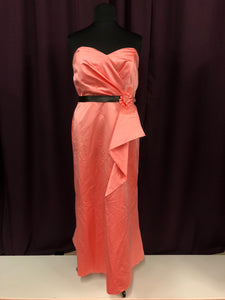 Belsoie Size 18 Pink Long Strapless Formal Dress