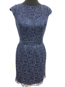 Belsoie Size 8 Navy Blue Lace Formal Dress