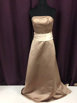 Bill Levkoff Size 0 Tan Long Belt Strapless Formal Dress