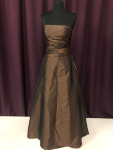 Bill Levkoff Size 4 Brown Long Sash Strapless Formal Dress