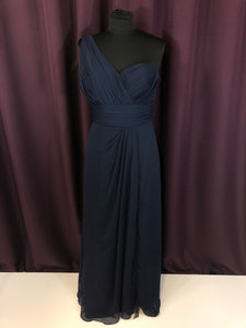 Bill Levkoff Size 8 Navy Blue Long Strapless Rushing One Shoulder Formal Dress