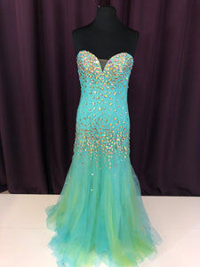 Blush Prom  Size 4 Blue Rhinestone Strapless Formal Dress