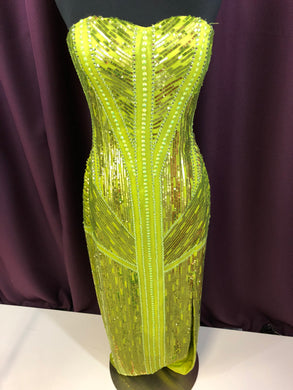 Bridal Originals Size 2 Green Sequin Bead Rhinestone Formal Dress