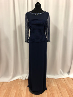 Cameron Blake Size 10 Blue Bead Rhinestone Formal Dress